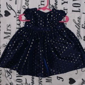 Midnight Blue with Gold Polkadot Dress with Bow